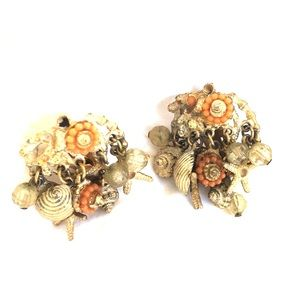 AMAZING signed ART coral sea life clip earrings